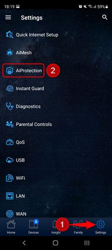 Trong router ASUS, nhấn Settings, sau đó chọn AiProtection