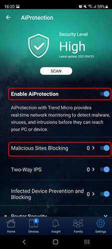 Bật Enable AiProtection and Malicious Sites Blocking