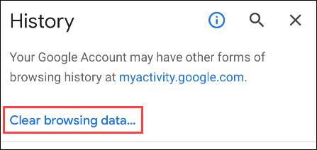 """Nhấn vào """"Clear Browsing Data"""""""