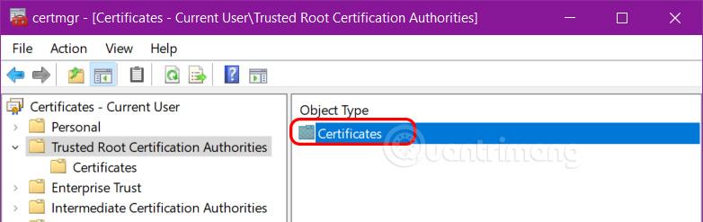 Mở Certificates
