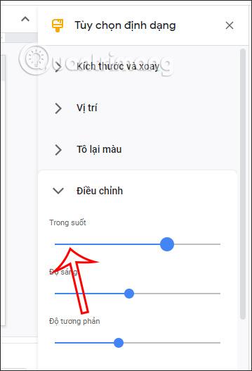 Thanh trong suốt chỉnh ảnh trên Google Slides