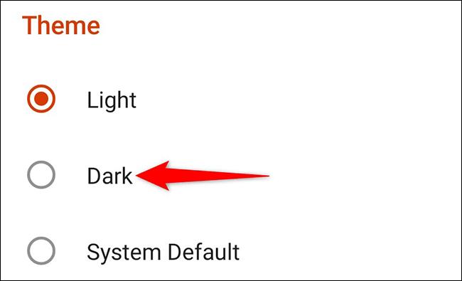 "Chọn ""Dark"""