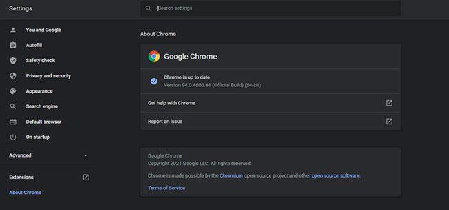 Cập nhật Chrome