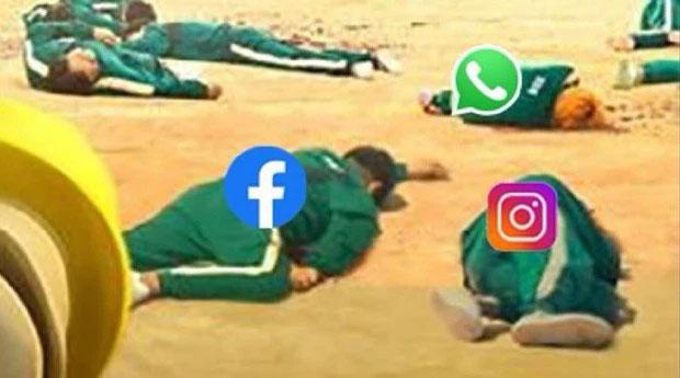 Một thế lực ghê gớm đã hạ gục Facebook, Instagram, Whatsapp. (Ảnh chế theo bộ phim đang hot Trò chơi con mực).