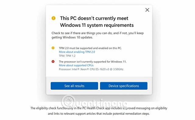 PC không đáp ứng yêu cầu cấu hình của Win 11