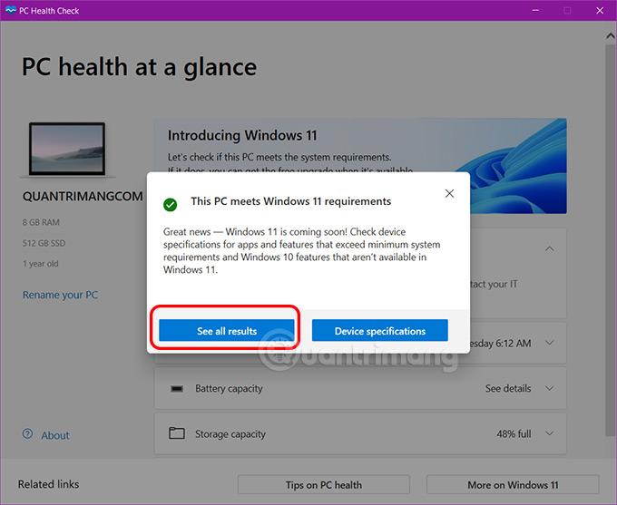 Dùng PC Health Check kiểm tra xem máy cài được Windows 11 không