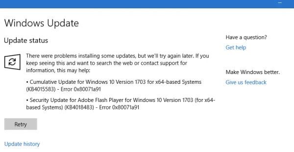 Lỗi cập nhật Windows 0x80071a91