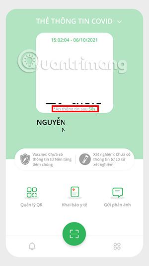 Hiển thị lại thông tin mã QR PC-Covid
