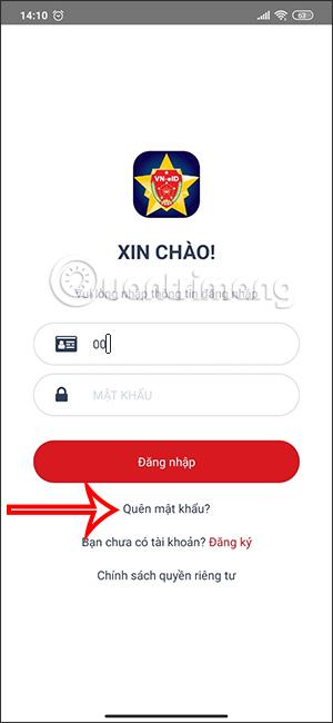 Quên mật khẩu VNEID