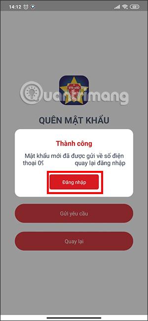 Tin nhắn chứa mật khẩu VNEID