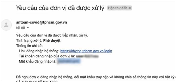 Email phê duyệt cho doanh nghiệp TP.HCM