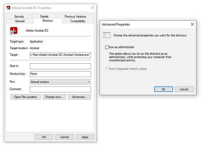 Chạy Adobe Acrobat với quyền admin