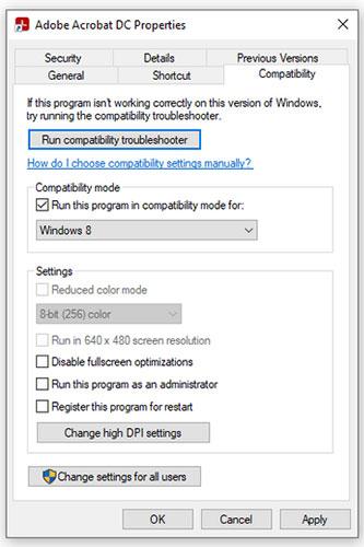 Chạy Adobe Acrobat ở Compatibility Mode