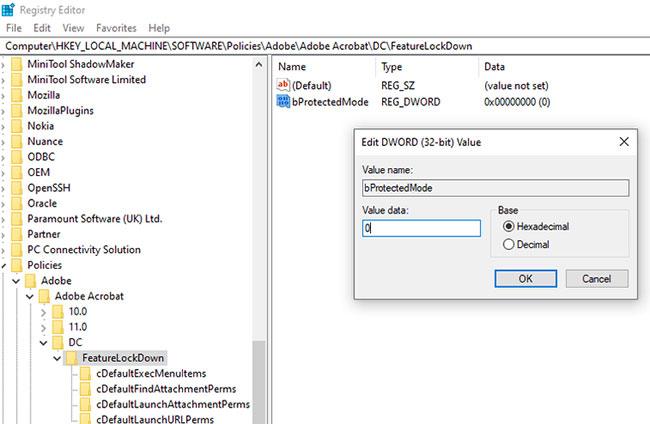 Thay đổi giá trị dữ liệu thành 0 để tắt Protected Mode
