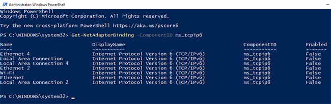 Vô hiệu hóa IPv6 bằng Powershell