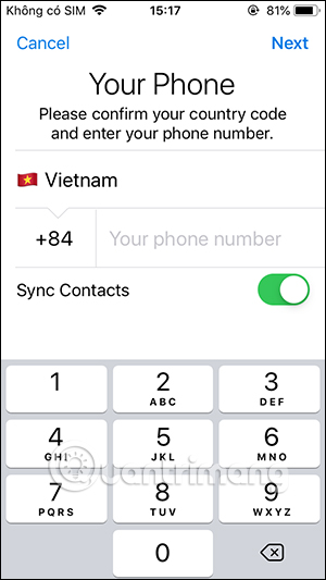 Nhập số điện thoại Telegram