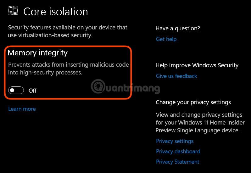 Cách tắt tính năng bảo mật VBS trên Windows 11