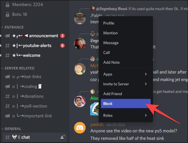 Chọn Block từ menu ngữ cảnh sau khi nhấp vào profile người dùng