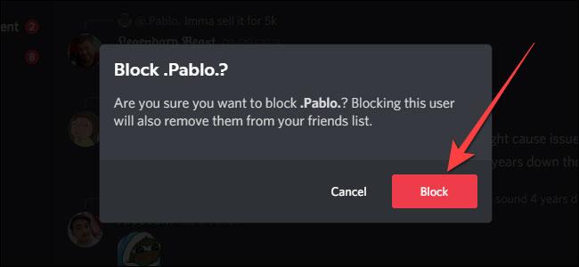 Chọn nút Block để xác nhận việc chặn