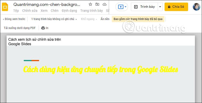 Google Slides print editing interface