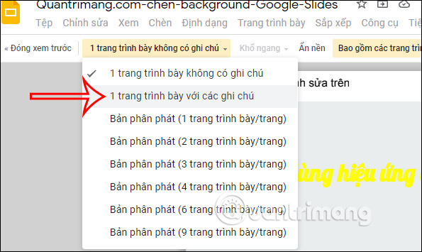 Choose a print style in Google Slides