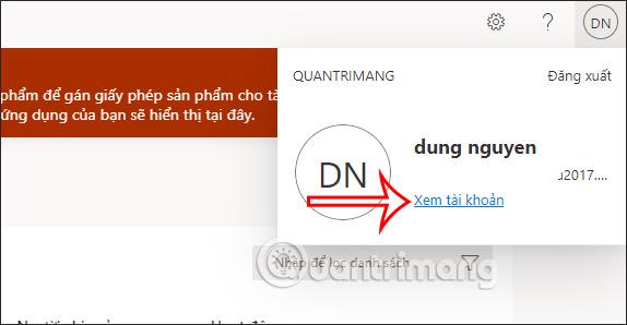 Xem tài khoản Microsoft 365