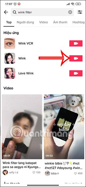 Sử dụng hiệu ứng Wink