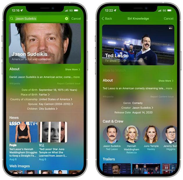 Spotlight trên iOS 15 cho kết quả tìm kiếm phong phú hơn
