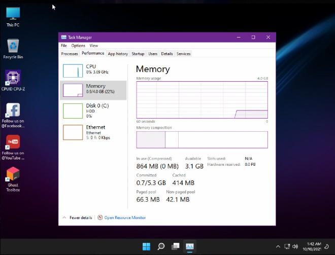 Windows 11 SuperLite ngốn rất ít bộ nhớ RAM
