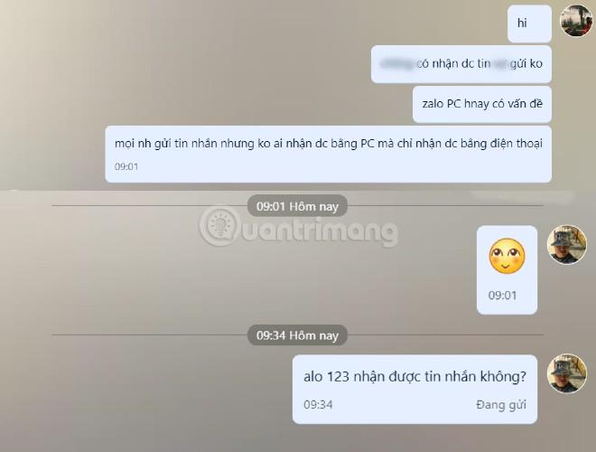 Zalo PC, Zalo Web gặp lỗi không thể gửi/nhận tin nhắn